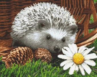 Cross stich pattern -  Hedgehog in the basket