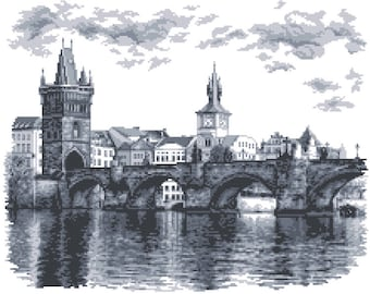 Charles Bridge Cross Stitch Pattern, Prague  Digital  Pdf ,Graphics Counted Cross Stitch Pattern  PDF  , Painting,  Easy