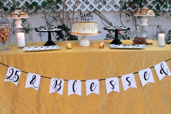 25th Birthdaynumber Banner25 And Blessed25th Birthday Decorations