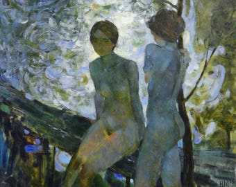 Original Large Art Oil Painting. Two Women Nude Figure In A Bridge On River Background. The Morning Nude Bathers Composition. 2016.