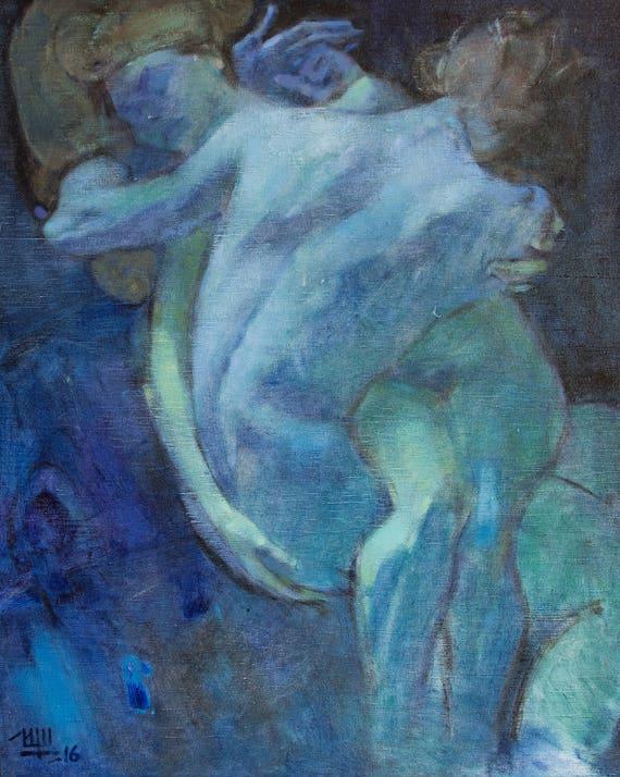 Gran arte al óleo pintura hombre y mujer desnudas figuras | Etsy