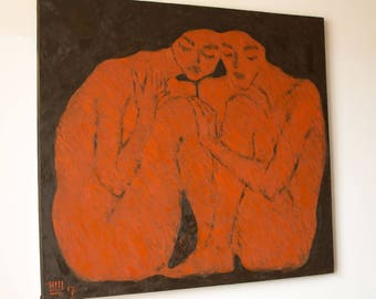 Original Art Oil Painting Figurative Modern Art Nude Lovers Man and Woman. 2017.