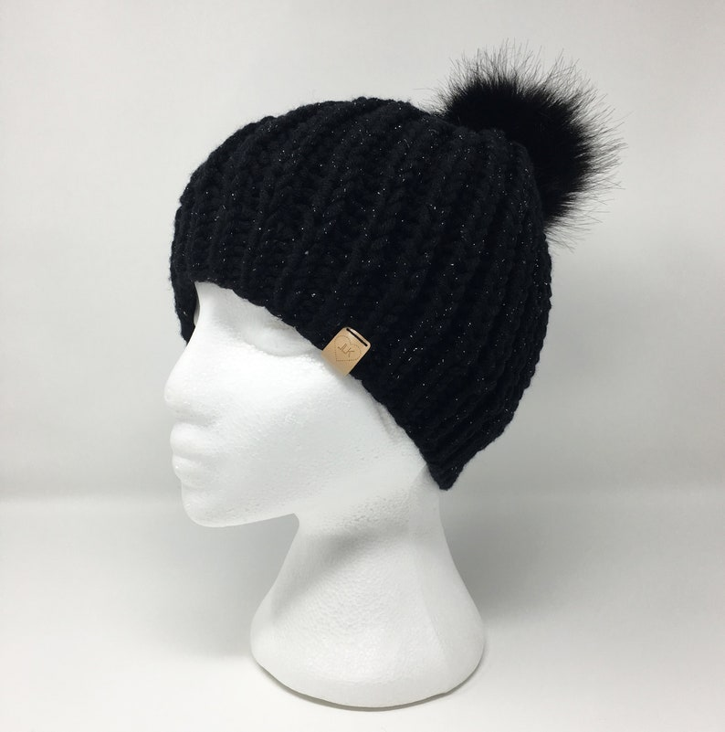c547f1aed0e Black Chunky Hat   Chunky Rib Hat   Chunky Knit Hat for Women