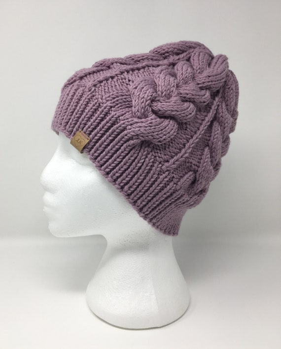 Knit Winter Hat   Purple Knit Hat   Purple Knit Beanie   Cable  0fc3d814600a