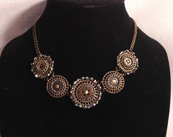 Timeless Hematite Steampunk Necklace