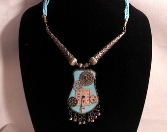 Blue Time Steampunk Necklace