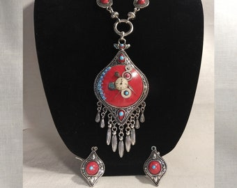 Tribal Measure Steampunk Necklace and Earrings Set