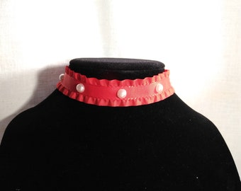 Necklace Choker Red Pearl