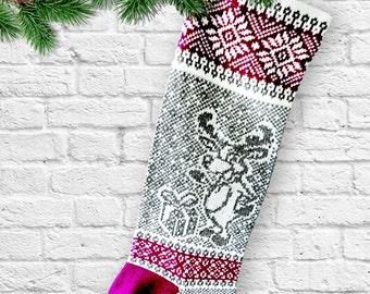 Knit Christmas Stocking Holiday Christmas Present  Reindeer  Knit Christmas Sock Santa Sock Snowflakes Gifts Long Christmas Stockings