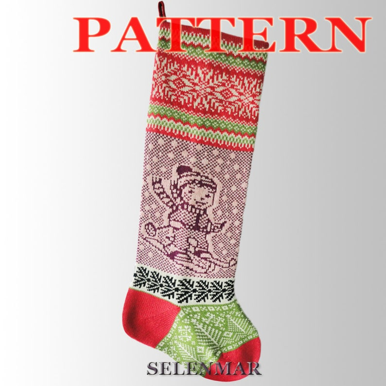 0aa6c688241 Knitting Instruction for Christmas Stocking.Pattern Santa Sock Fair Isle. Pattern Small Skier.Xmas Stocking Pattern.PDF Knitting Pattern–A 27