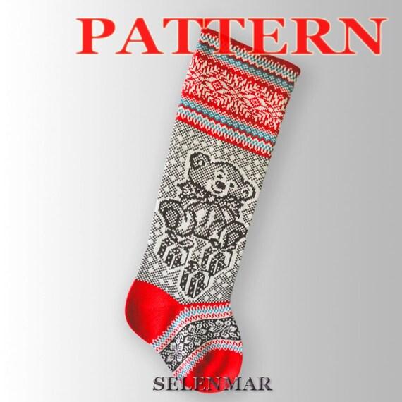 Knitting Instruction For Christmas Stockingsttern Santa Etsy