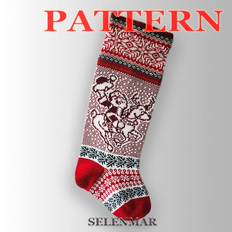 382f1e92572 Knitted Christmas stocking pattern . Santa Claus and