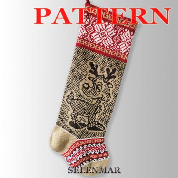 Pattern Christmas Sock Christmas Reindeer Fair Isle Knit Etsy