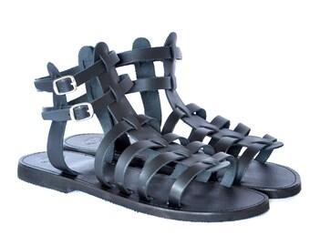 Grec Gladiator sandales Spartiates, femmes, hommes à la main à lanières sandales en cuir, noirs