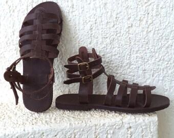 Grec Gladiator sandales Spartiates, femmes, hommes à la main à lanières sandales en cuir, marrons