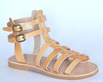 Sandales de lanières en cuir fait à la main grec Gladiator sandales Spartiates, femmes, hommes
