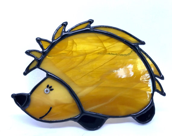 Little Quill - The Cutest Hedgehog Ever!  Stained Glass Suncatcher, Wall Decoration, Unusual Country Style Ornament, Gardener Friend Gift