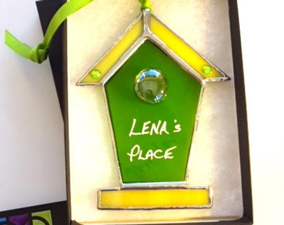 Personalised Stained Glass Birdhouse Suncatcher Wall Window Decor, Housewarming Gift, New Home, Wedding Favour, Newlyweds