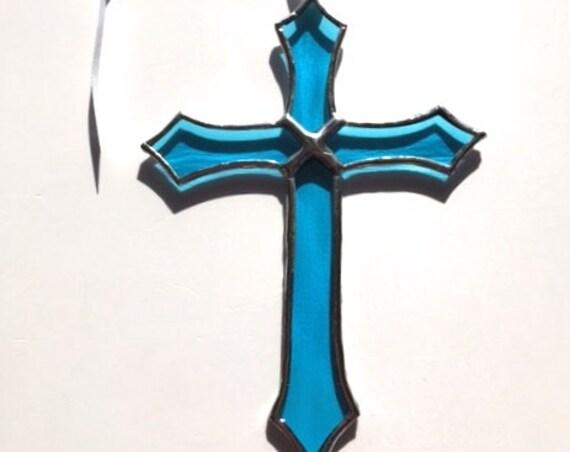 Aquamarine Stained Glass Cross Suncatcher Wall Window Garden Decor, Gift Of Comfort, Christening, Holy Communion