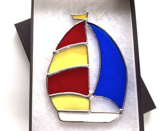 Red, Yellow and Blue Sailboat Stained Glass Suncatcher Home Decor, Sailor Gift Boating Window Ornament Yacht Sailing