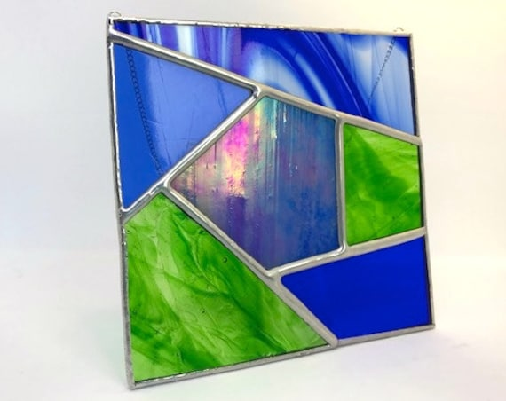 Geometric Iridescent Blue And Green Stained Glass Suncatcher Home Decor, Housewarming, Wedding Present, Modern Gift