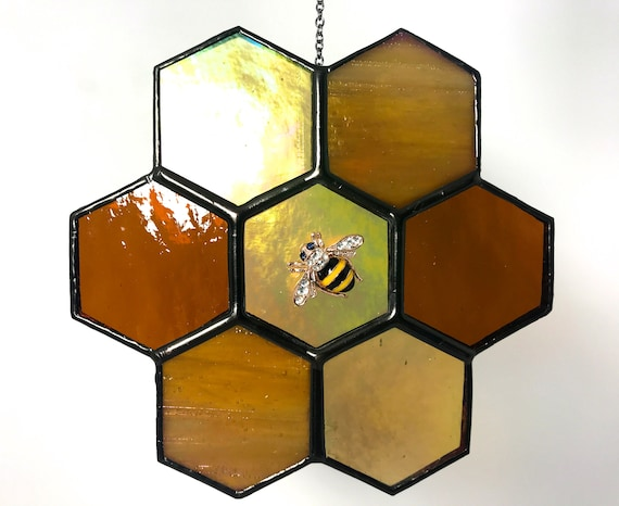 Iridised Amber Honeycomb  Stained Glass Suncatcher Home Decor, Window Ornament, Wall Decoration