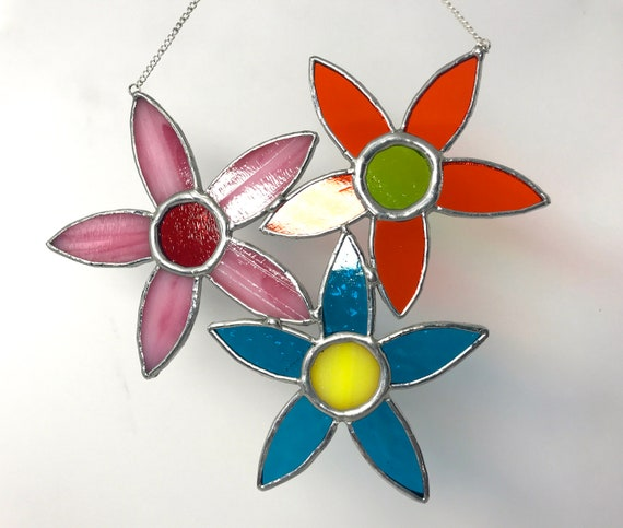 Bouquet Of Happiness Stained Glass Suncatcher, Wall Art Home Decor, Birthday Gift