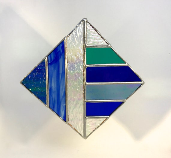 Diamond Shaped Abstract Blue Stained Glass Suncatcher, Wall Art Home Decor, Perfect Gift
