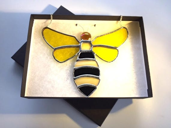Honey Winged Bee Stained Glass Suncatcher Home Decor, Honey Lover Birthday Gift, Window Ornament