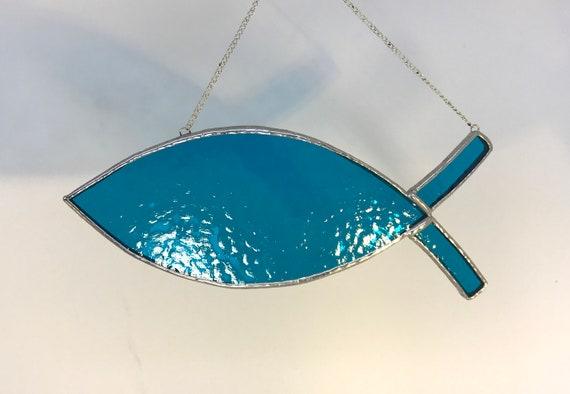 Ichthys Aquamarine Stained Glass Suncatcher, Window Or Garden Decor, Baptism, Christening, Holy Communion