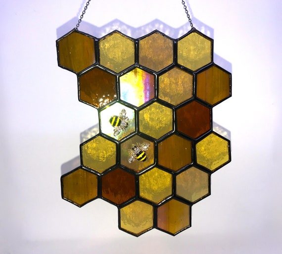 Honey, Honey, Honey! Stained Glass Honeycomb Suncatcher Home Decor, Honey Lover Birthday Gift, Window Ornament