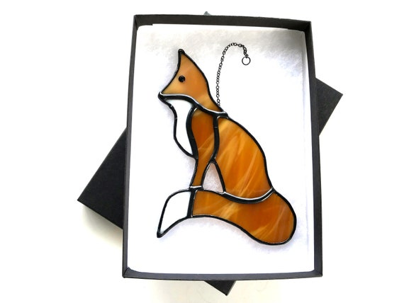 Wily Tan Fox Stained Glass Suncatcher Wall Decoration, Unusual Countryside Ornament, Hand Made Gift