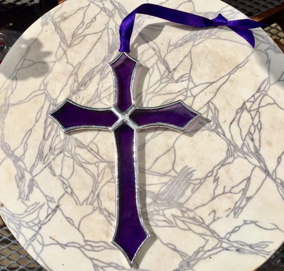 Amethyst Stained Glass Cross Suncatcher Wall Window Garden Decor, Gift Of Comfort, Christening, Holy Communion