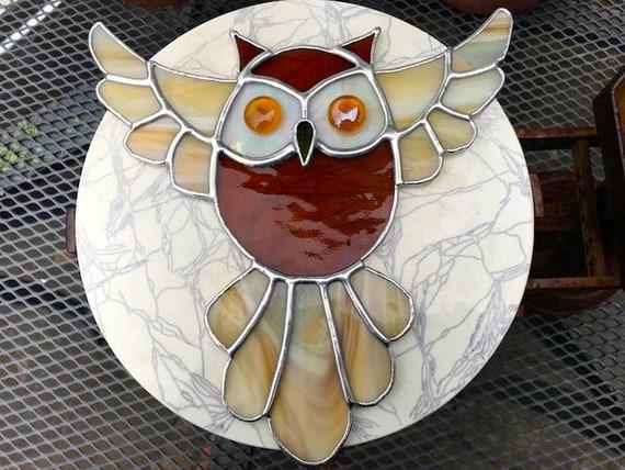 Large Amber Eyed Flying Owl Stained Glass Suncatcher, Wall Art, Home Decor, Owl Lover Gift