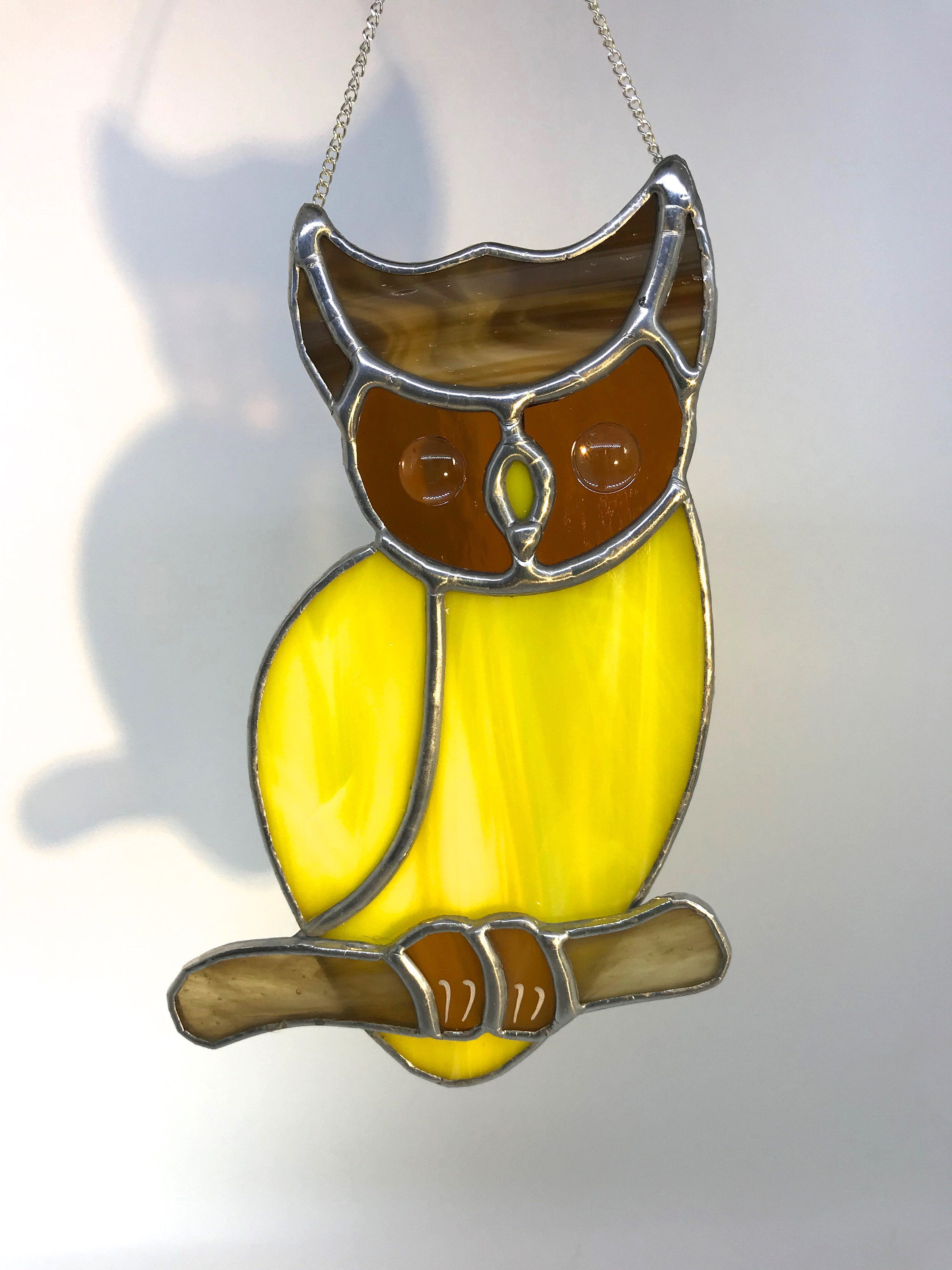 Magical Yellow Owl Stained Glass Suncatcher, Wall Art, Home Decor ...