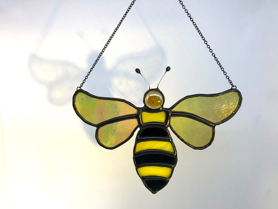 Iridescent Golden Winged Bee Stained Glass Suncatcher Home Decor, Honey Lover Gift, Window Ornament