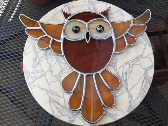 Large Amber Flying Owl Stained Glass Suncatcher, Wall Art, Home Decor, Harry Potter Fan, Owl Lover Gift