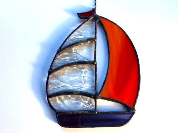 Clear Crinkle and Orange Spinnaker Stained Glass Sailboat Suncatcher Home Decor, Sailor Birthday Gift Window Ornament