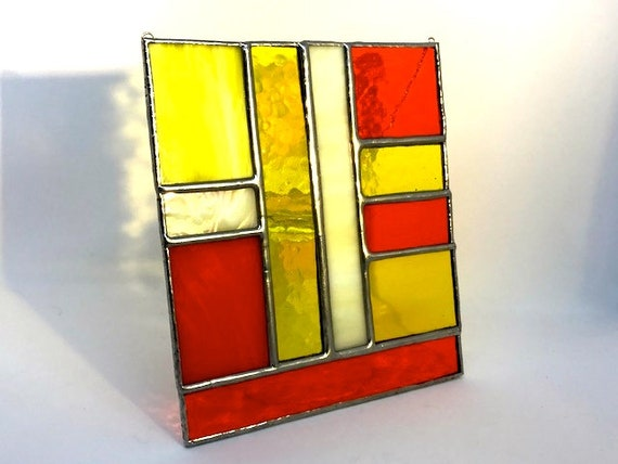 St Clements Orange and Yellow Stained Glass Panel Suncatcher Home Decor, Housewarming, Wedding Present, Modern Gift