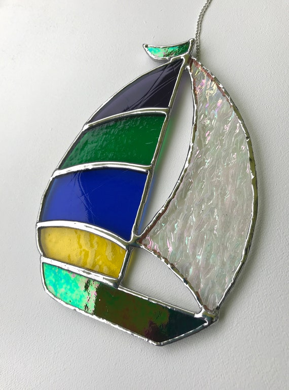 Multi-Coloured Textured Stained Glass Spinnaker Sailboat Suncatcher