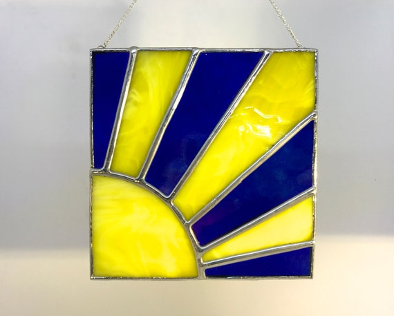 Bright Yellow And Blue Sun Ray Stained Glass Suncatcher, Wall Art Home Decor, Birthday Gift, Garden Ornament
