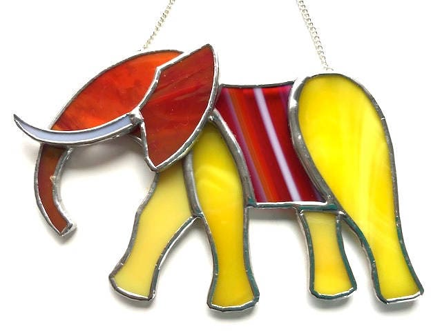 Exotic Unique Elephant Stained Glass Suncatcher Lover Birthday Gift Window Ornament Wall Decoration