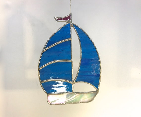 Blue Sparkle Spinnaker Stained Glass Sailboat Suncatcher Home Decor, Sailor Gift Boating Window Ornament Yacht Sailing