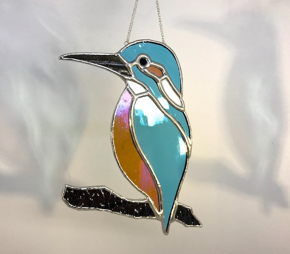 Handmade Stained Glass Kingfisher Suncatcher Wall Decor, Country Lover, Nature Gift, Angler Present