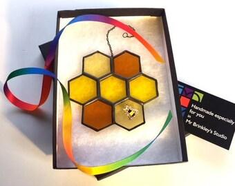 Taste the Honey Stained Glass Honeycomb Suncatcher Home Decor, Honey Lover Birthday Gift, Window Ornament
