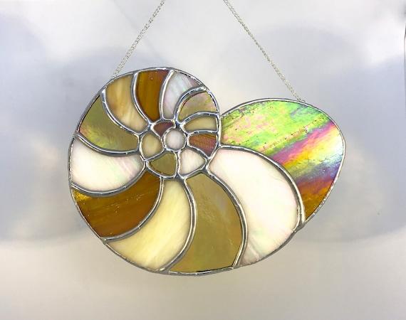 Nautilus Shell Stained Glass Suncatcher, Wall Art Home Decor, Birthday Gift, Garden Ornament