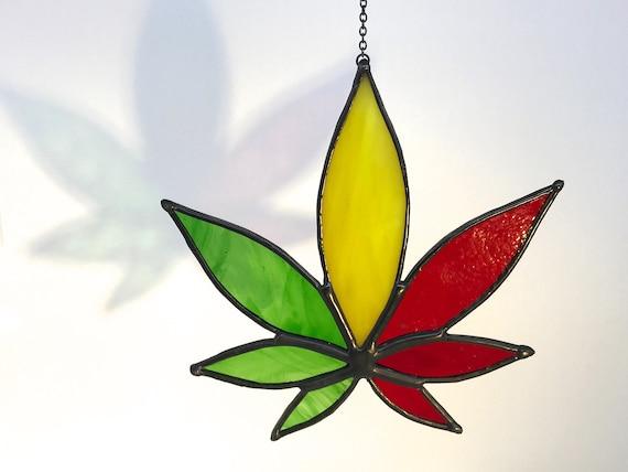 Rasta Hemp Leaf Suncatcher Home Decor, Birthday Gift, Window Ornament, Garden Decor