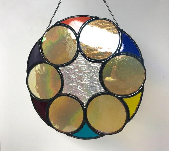 Fabulous And Stylish Roundel Of Stained Glass - Home Decor Suncatcher, Housewarming, Wedding Present, Modern Gift
