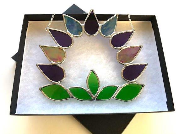 Iridescent Lavender Stained Glass Wreath Suncatcher, Wall Decoration, Birthday Present