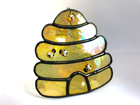 Iridescent Golden Honey Beehive  Stained Glass Suncatcher Home Decor, Window Ornament, Hive Wall Decoration, Birthday Gift Beekeeper